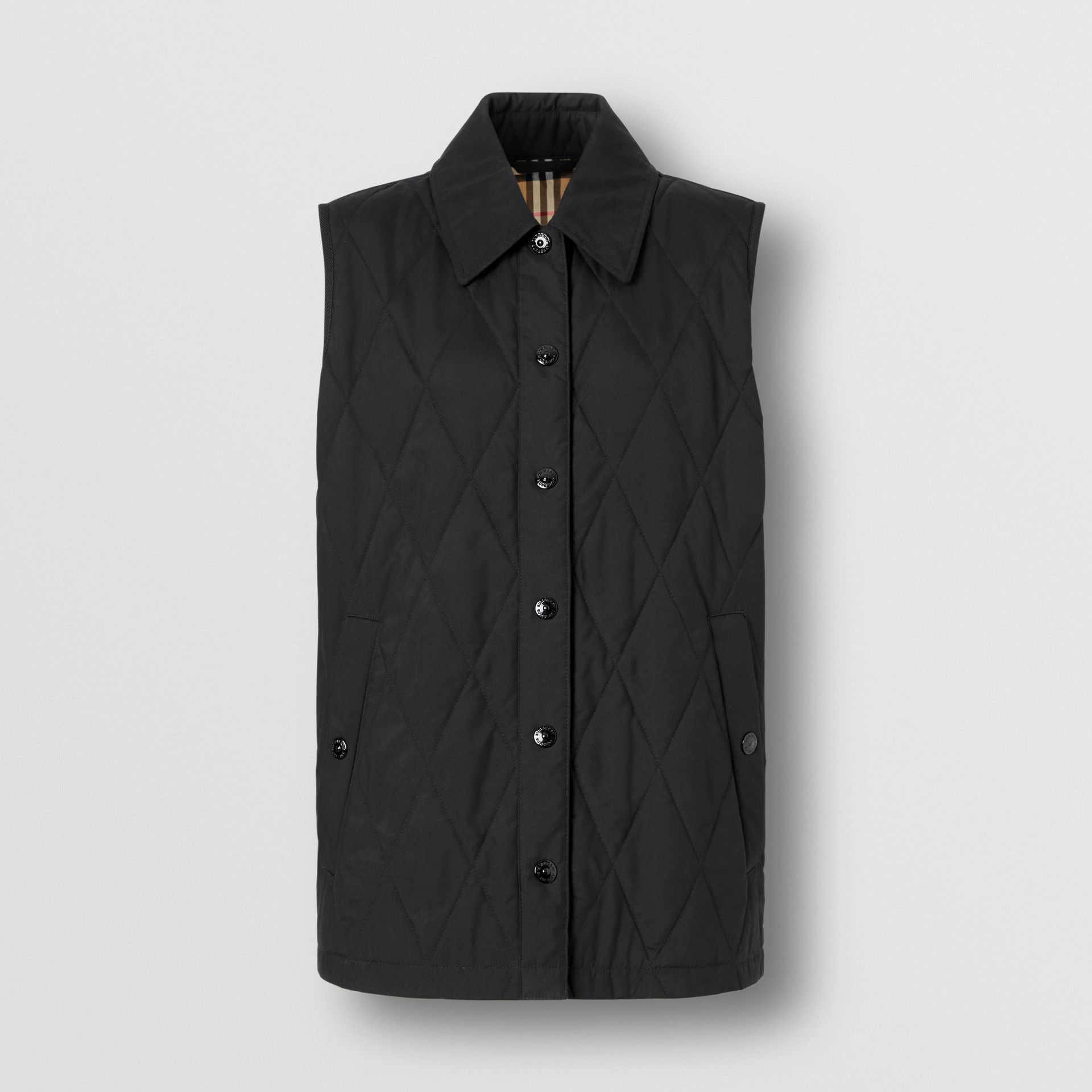 Diamond Quilted Gilet in Black   Burberry United Kingdom - gallery image 3