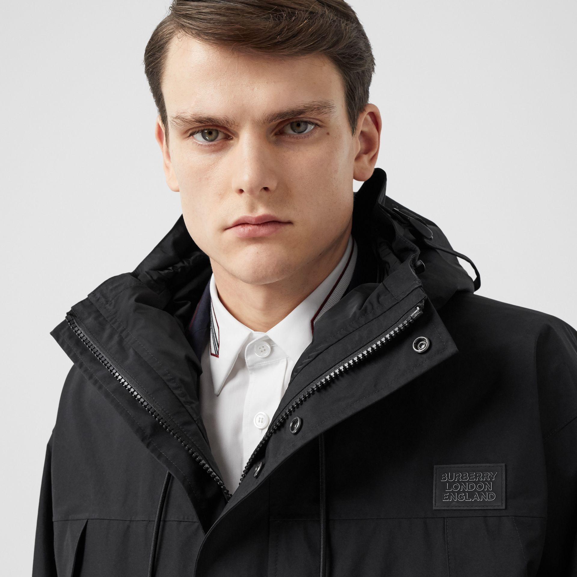 Logo Appliqué Nylon Hooded Jacket in Black - Men | Burberry - gallery image 5
