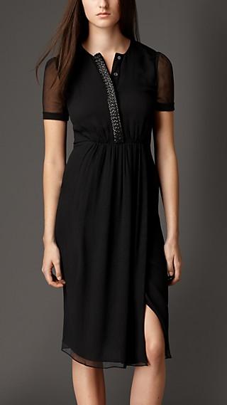 Embellished Placket Silk Crépon Dress