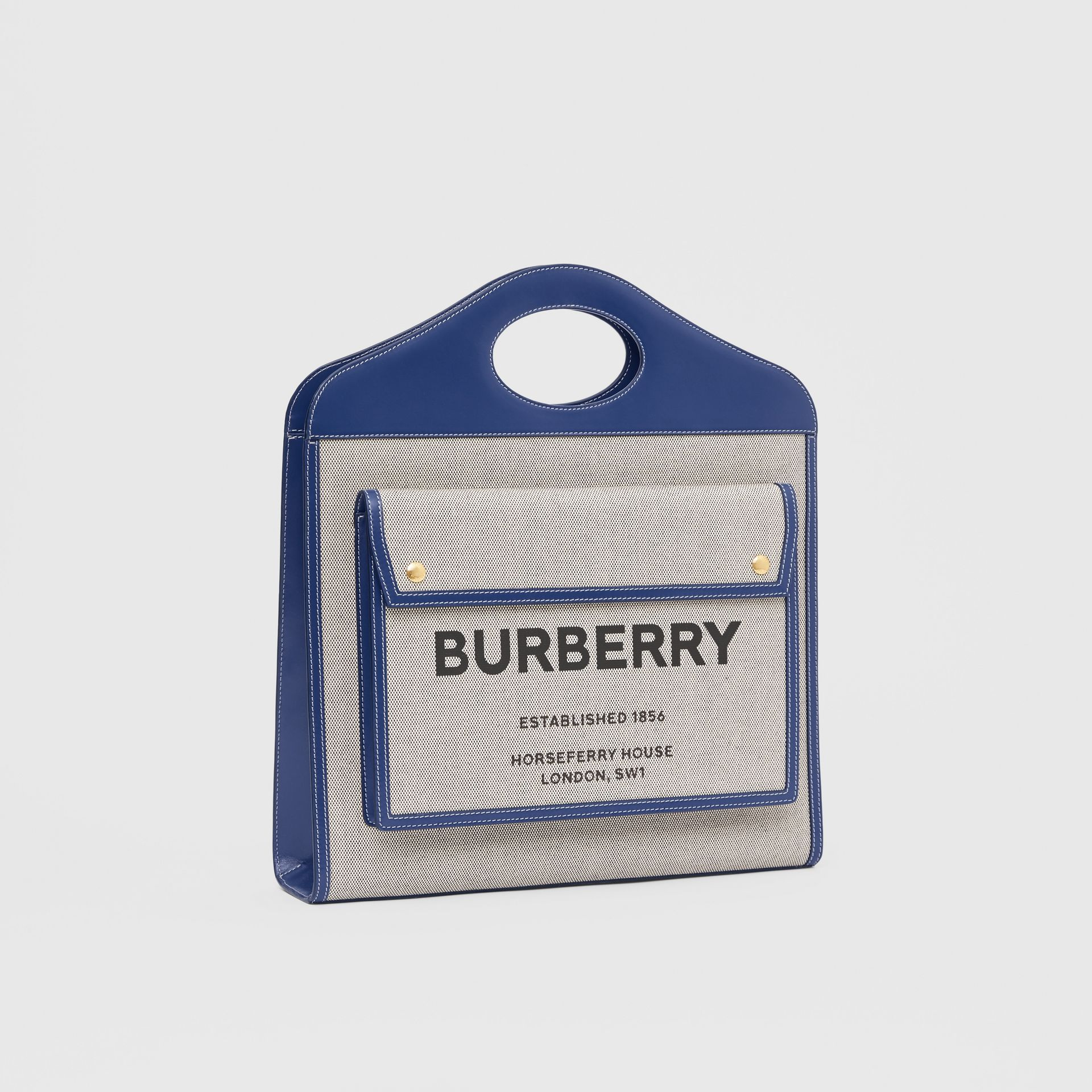 Medium Two-tone Canvas and Leather Pocket Bag in Ink Navy - Women | Burberry - gallery image 6