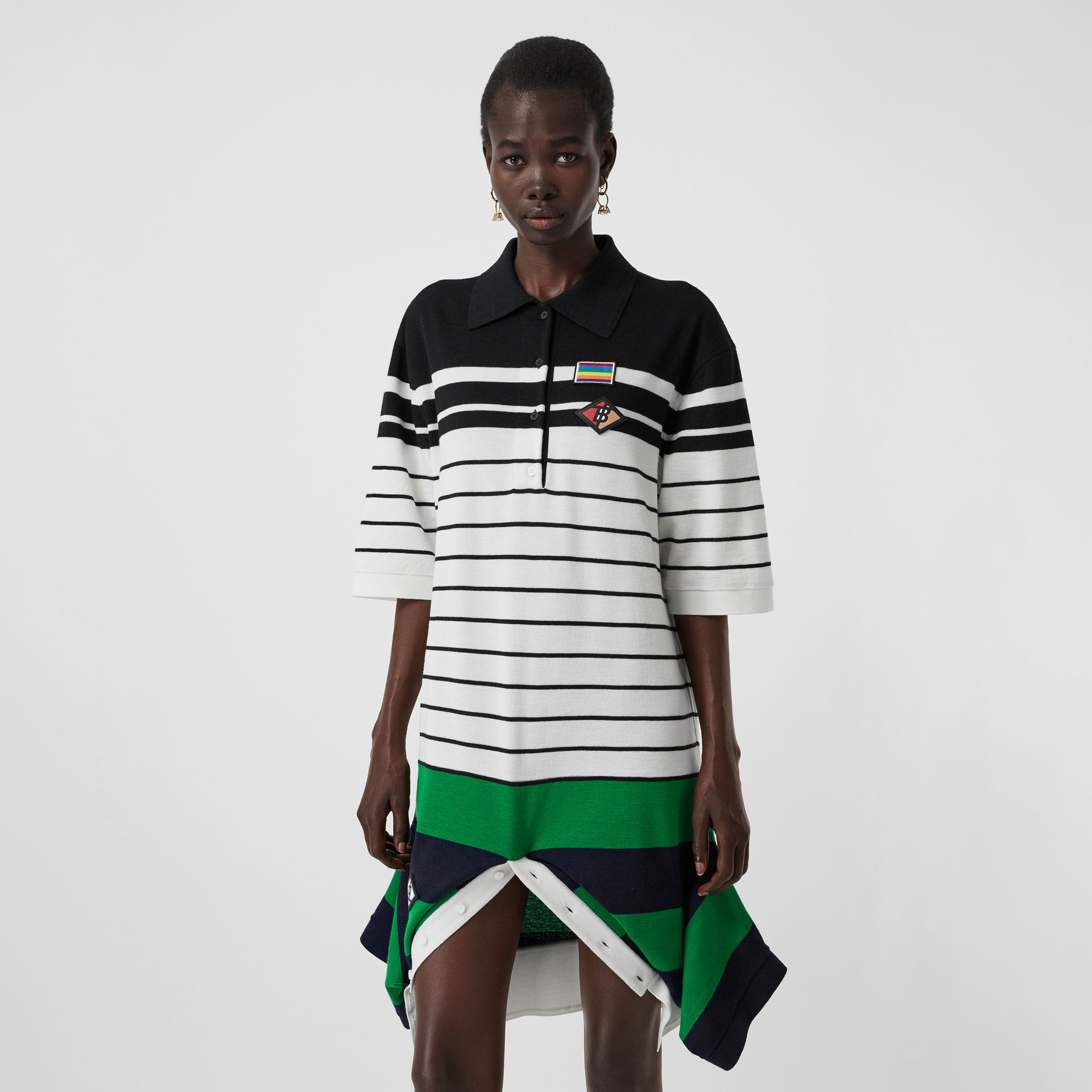 Logo Graphic Wool Reconstructed Polo Shirt Dress in Natural White - Women | Burberry - gallery image 0