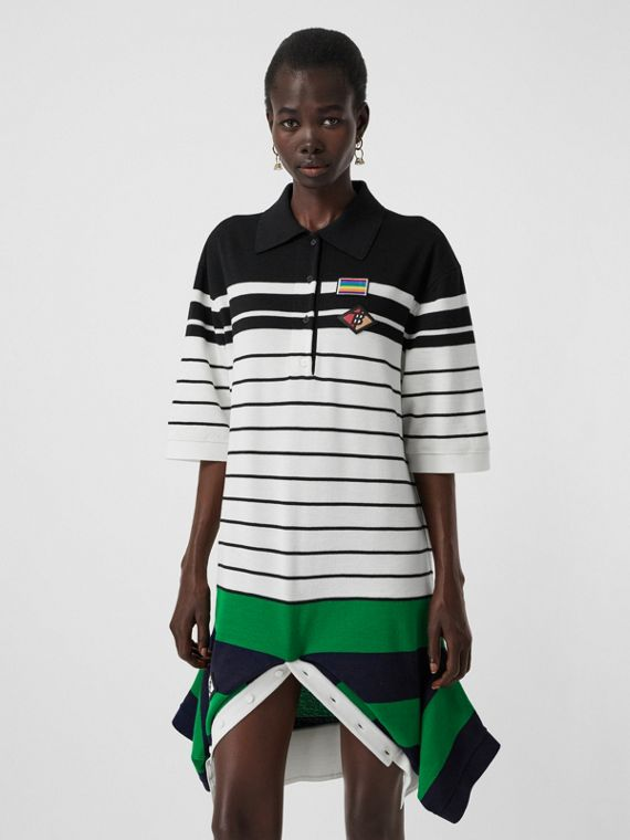 Logo Graphic Wool Reconstructed Polo Shirt Dress in Natural White