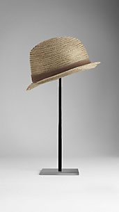 Leather Detail Raffia Trilby