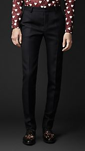 Wool Twill Slim Fit Trousers