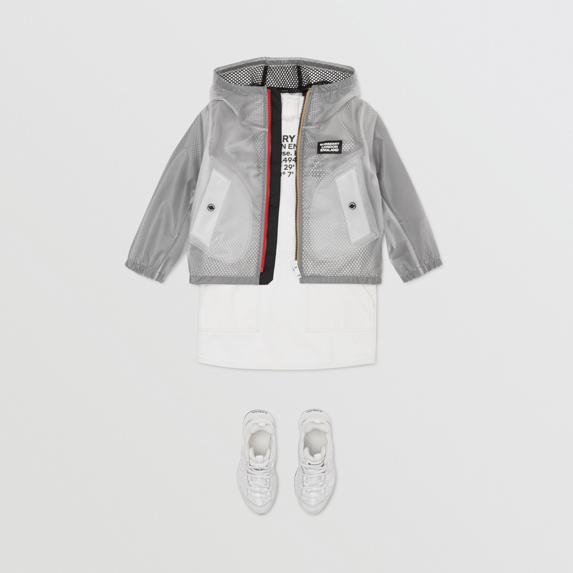Logo Print Lightweight Hooded Jacket in Clear | Burberry - gallery image 3