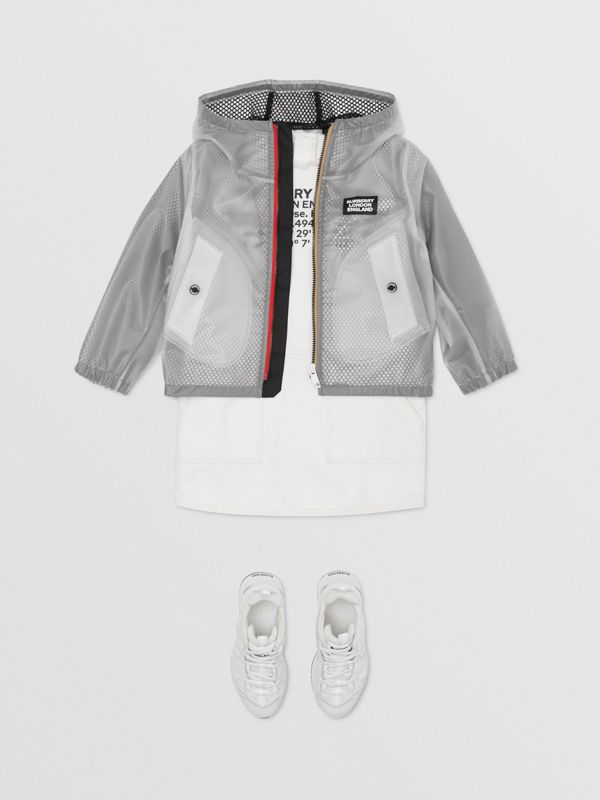 Logo Print Lightweight Hooded Jacket in Clear | Burberry - cell image 3