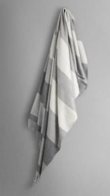 中灰色条纹 条纹喀什米尔毛毯 - 图像 1