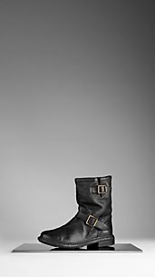 Belted Leather Ankle Boots