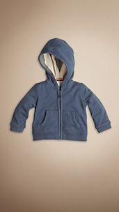 Check Detail Cotton Hooded Top