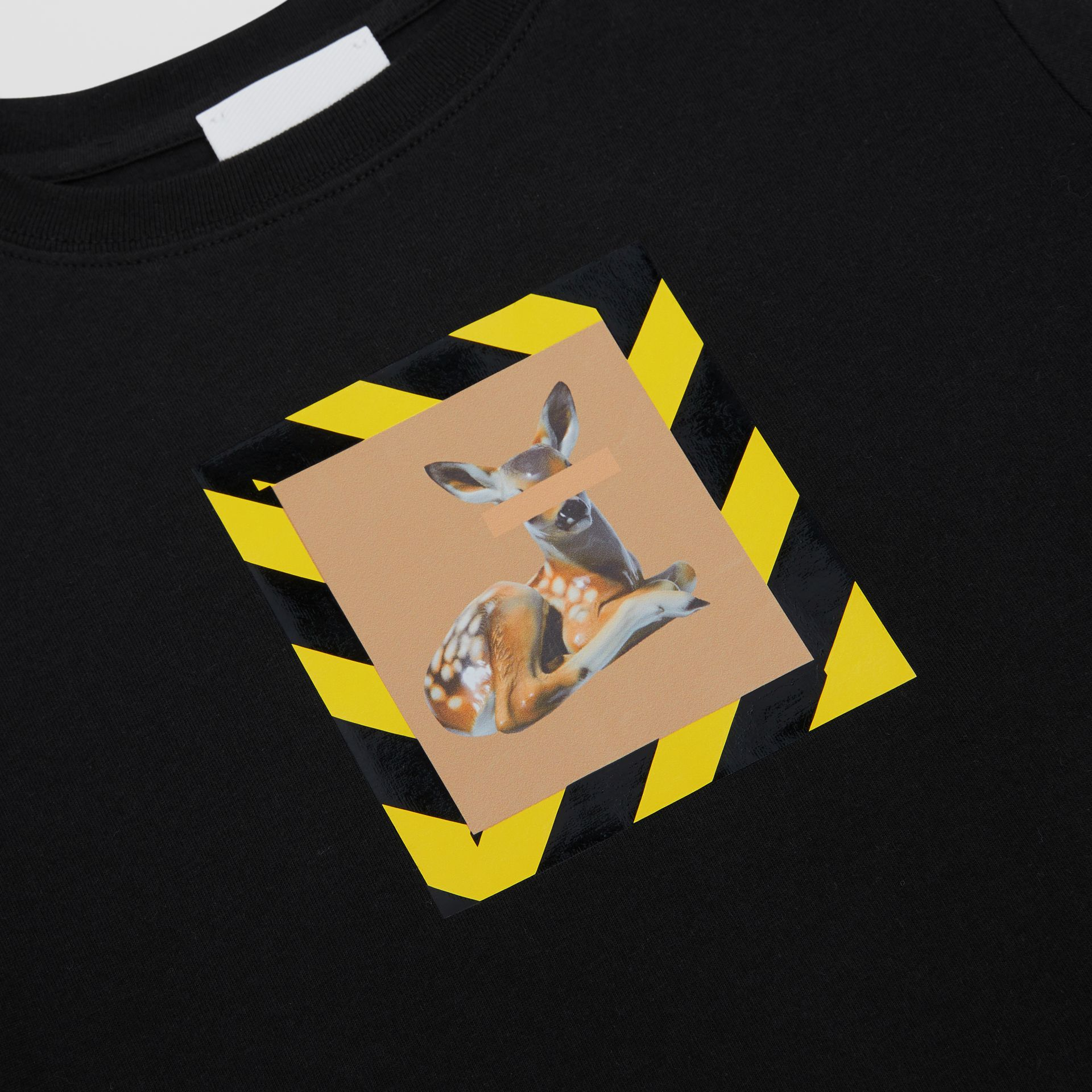 Deer Print Cotton T-shirt in Black   Burberry - gallery image 1