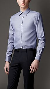 Modern Fit Micro-Check Cotton Shirt