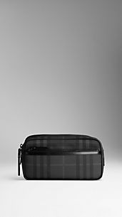 Charcoal Check Washbag