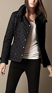 Funnel Collar Quilted Jacket