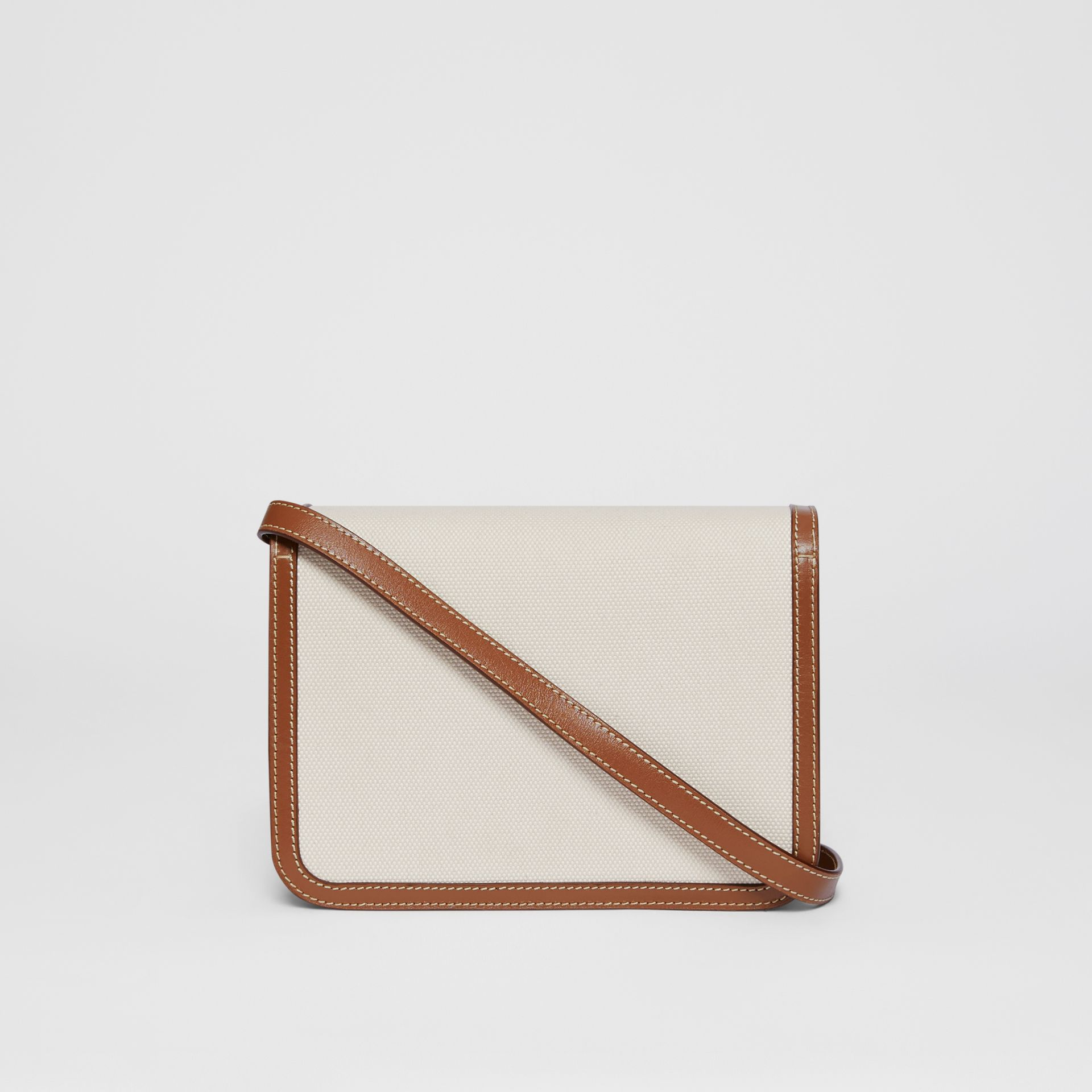 Small Two-tone Canvas and Leather TB Bag in Natural/malt Brown | Burberry - gallery image 6