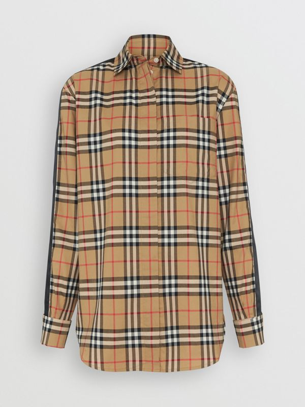 Satin Stripe Vintage Check Shirt in Antique Yellow - Women | Burberry - cell image 3