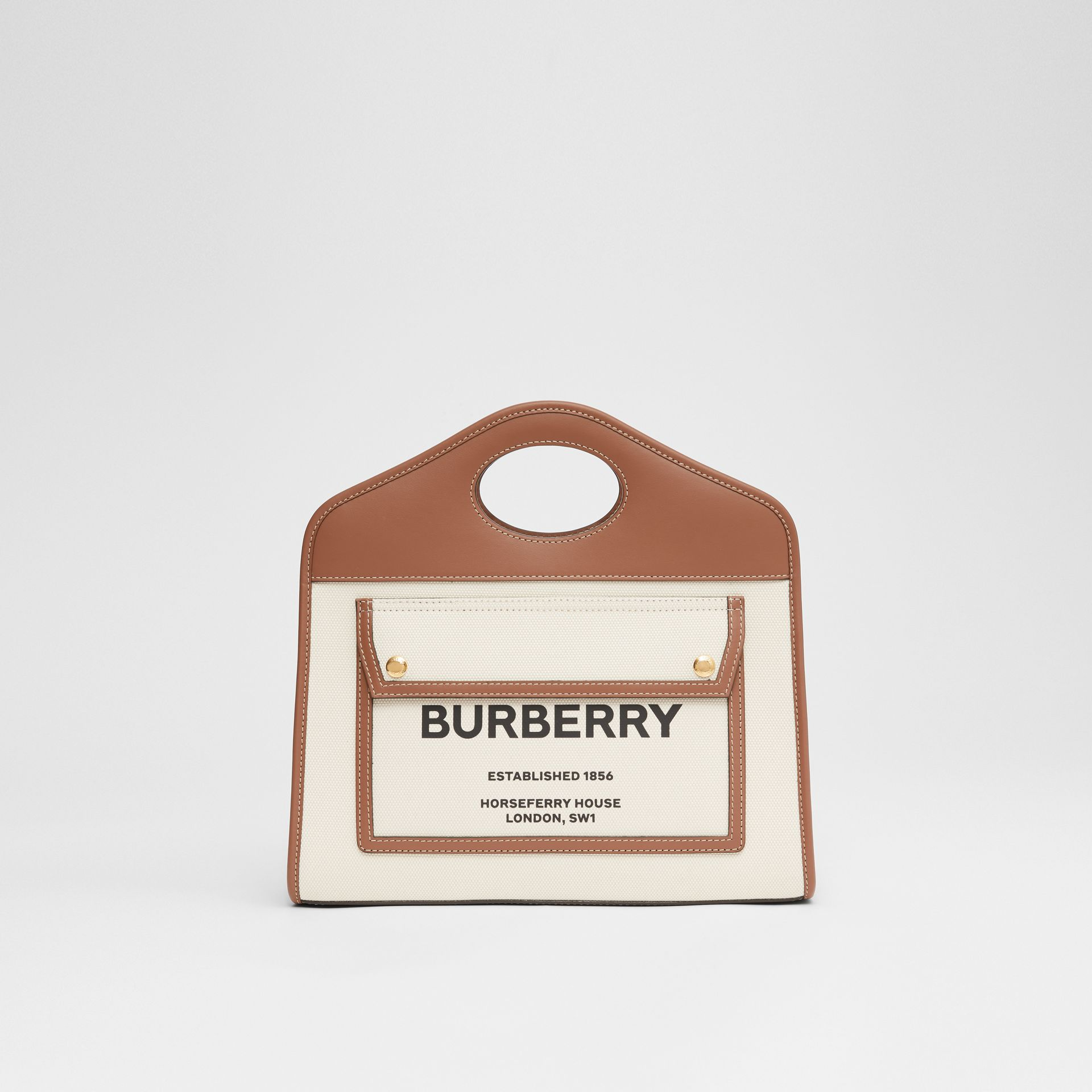 Small Two-tone Canvas and Leather Pocket Tote in Natural/malt Brown - Women | Burberry - gallery image 0