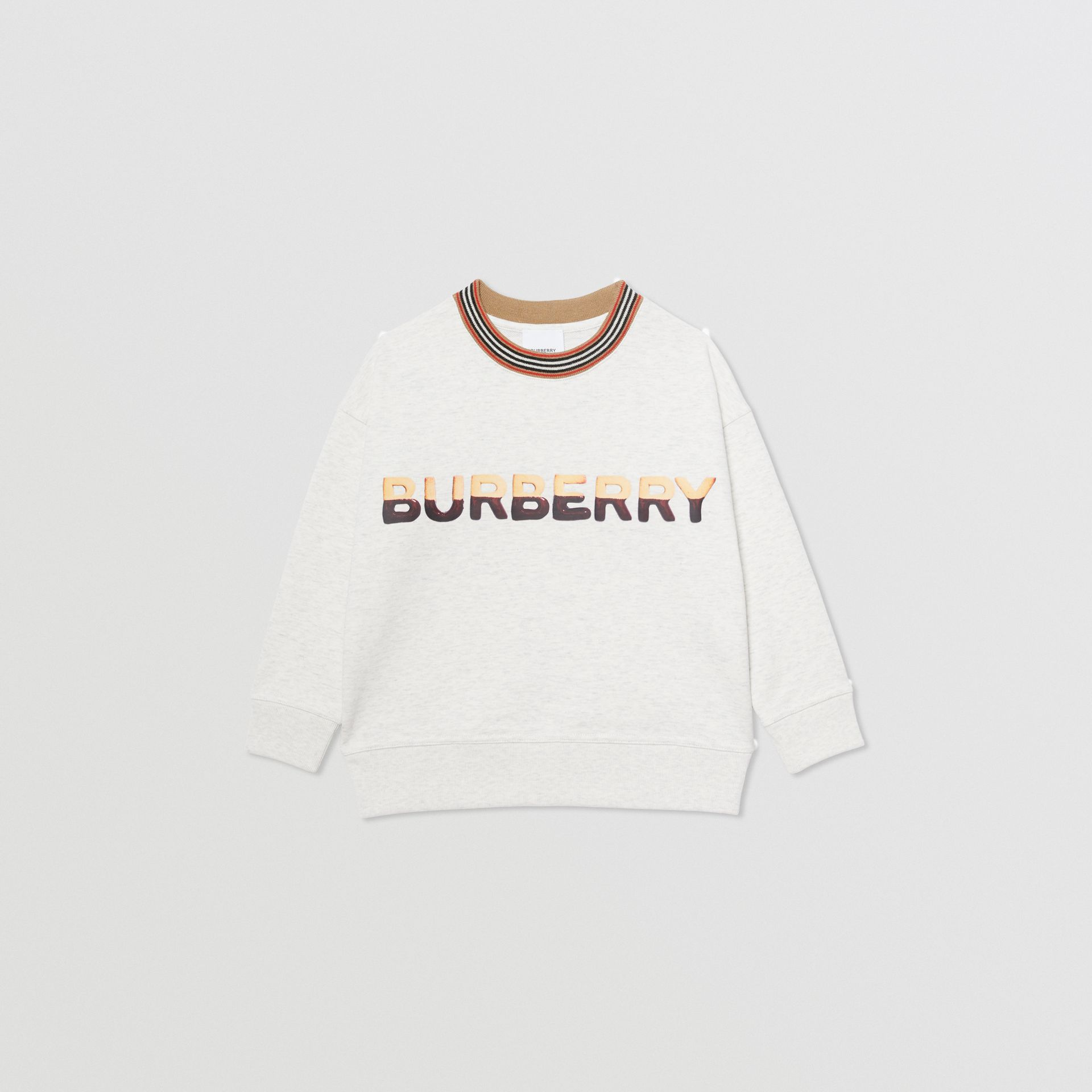 Confectionery Logo Print Cotton Sweatshirt in White Melange | Burberry - gallery image 0