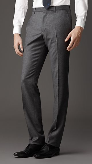 Modern Fit Virgin Wool Flannel Trousers