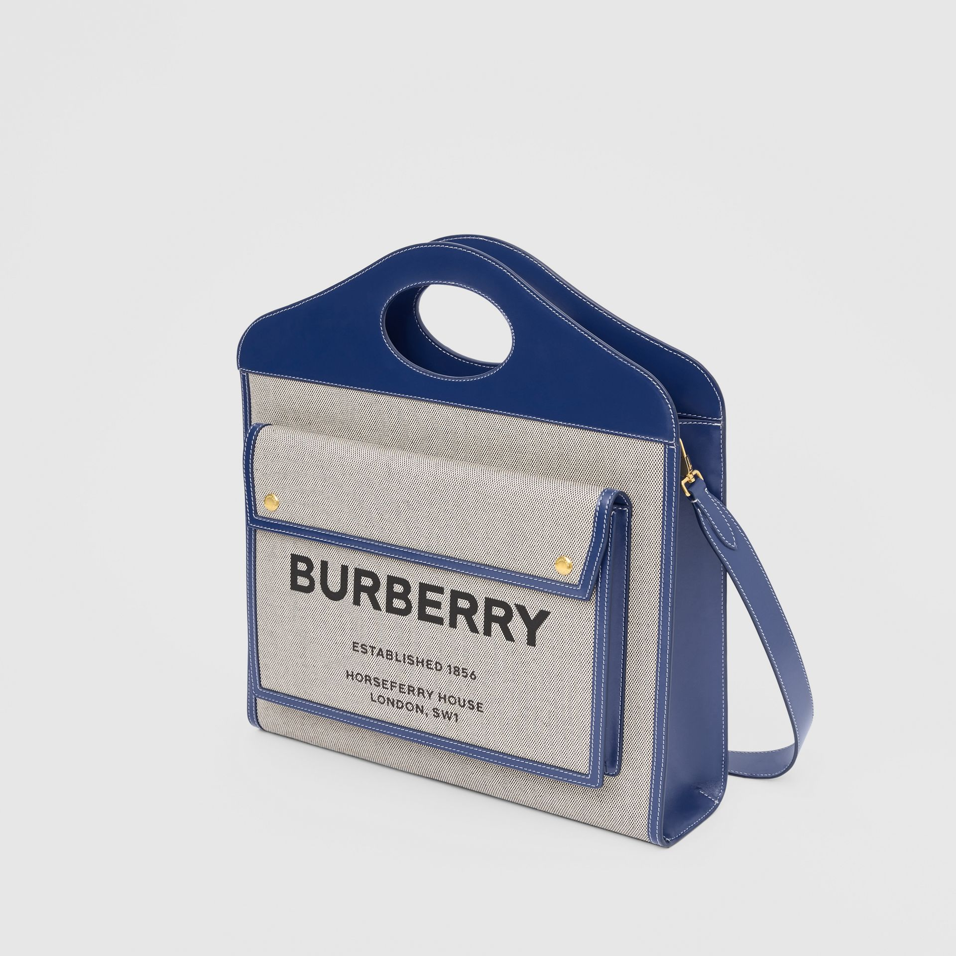 Medium Two-tone Canvas and Leather Pocket Bag in Ink Navy - Women | Burberry - gallery image 3