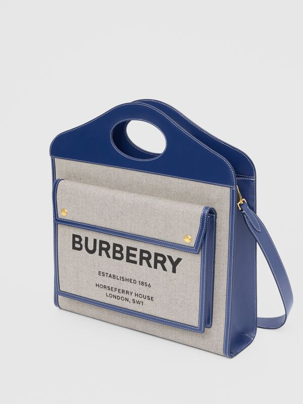 Medium Two-tone Canvas and Leather Pocket Bag in Ink Navy - Women | Burberry United Kingdom - cell image 3