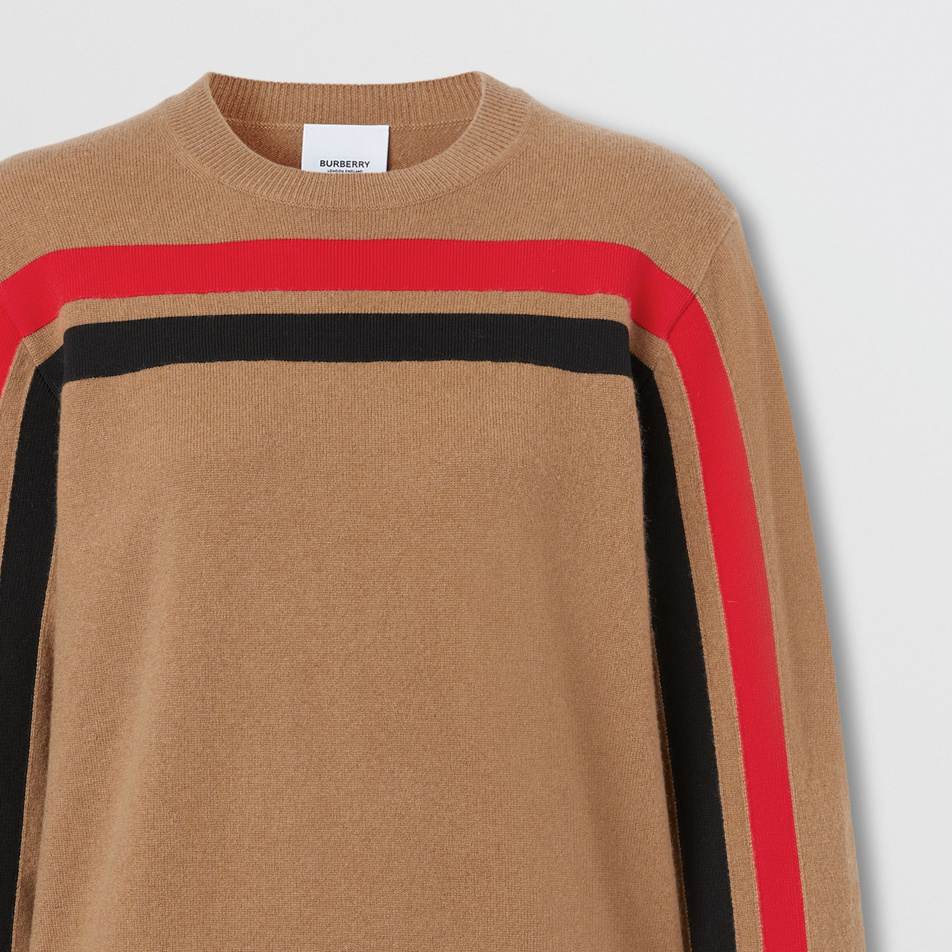 Stripe Detail Technical Cashmere Sweater in Beige - Women | Burberry - gallery image 7