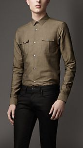 Slim Fit Linen Cotton Military Shirt