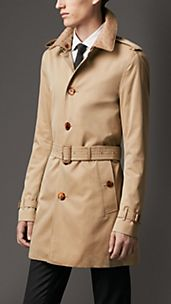 Mid-Length Cotton Gabardine Ostrich Leather Collar Trench Coat