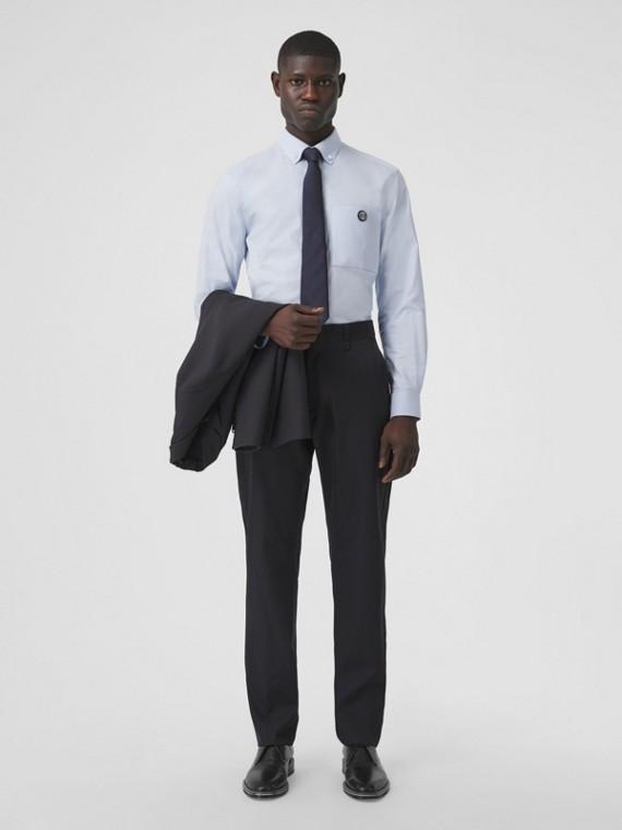 Monogram Motif Technical Wool Tailored Trousers in Dark Navy