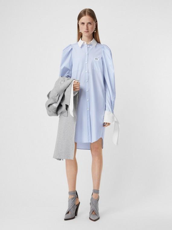Striped Cotton Poplin Shirt Dress in Pale Blue