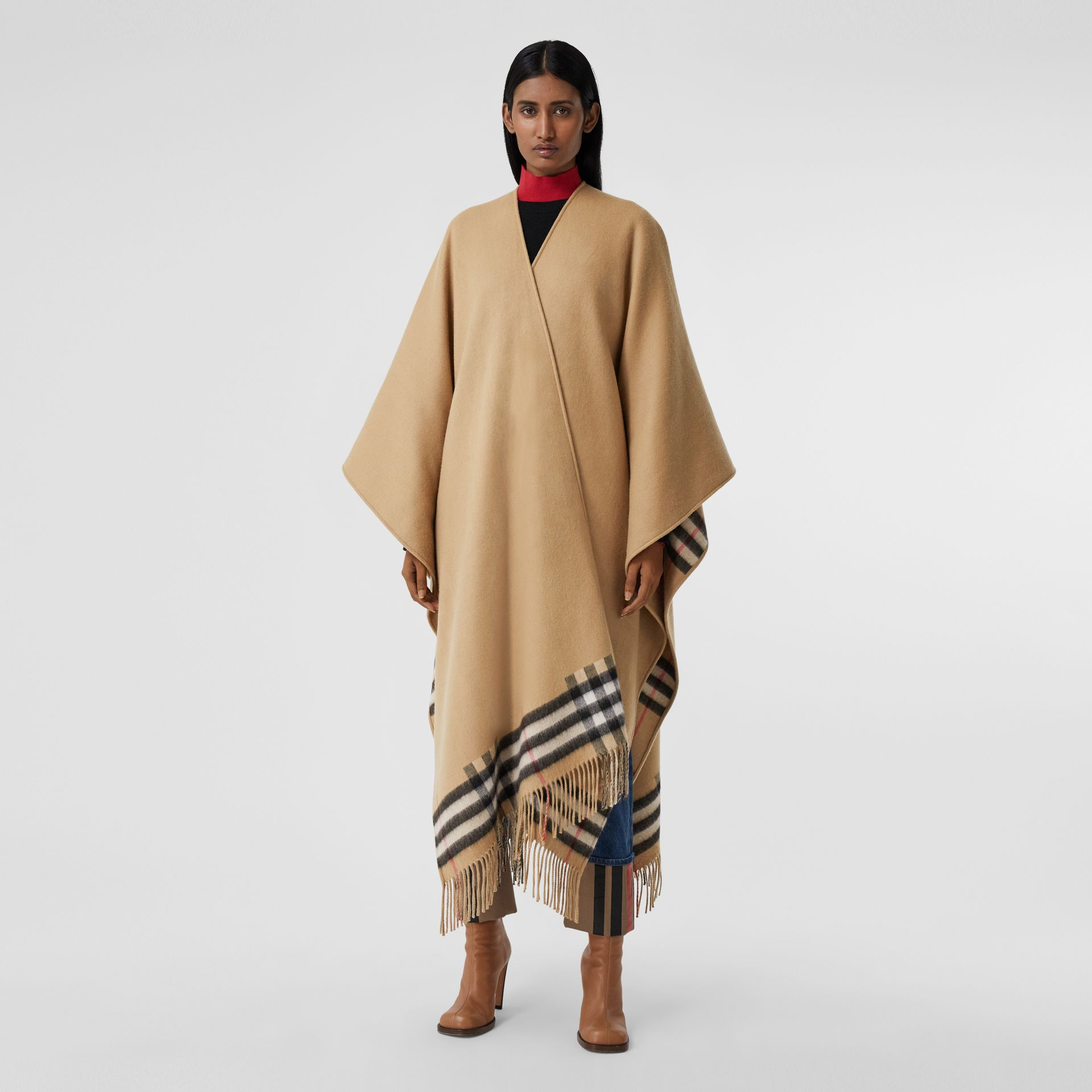 Check-lined Cashmere Merino Wool Cape in Archive Beige - Women | Burberry - gallery image 5