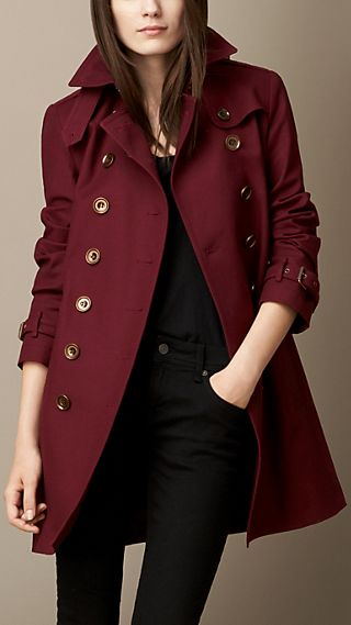 Showerproof Stretch Cotton Trench Coat