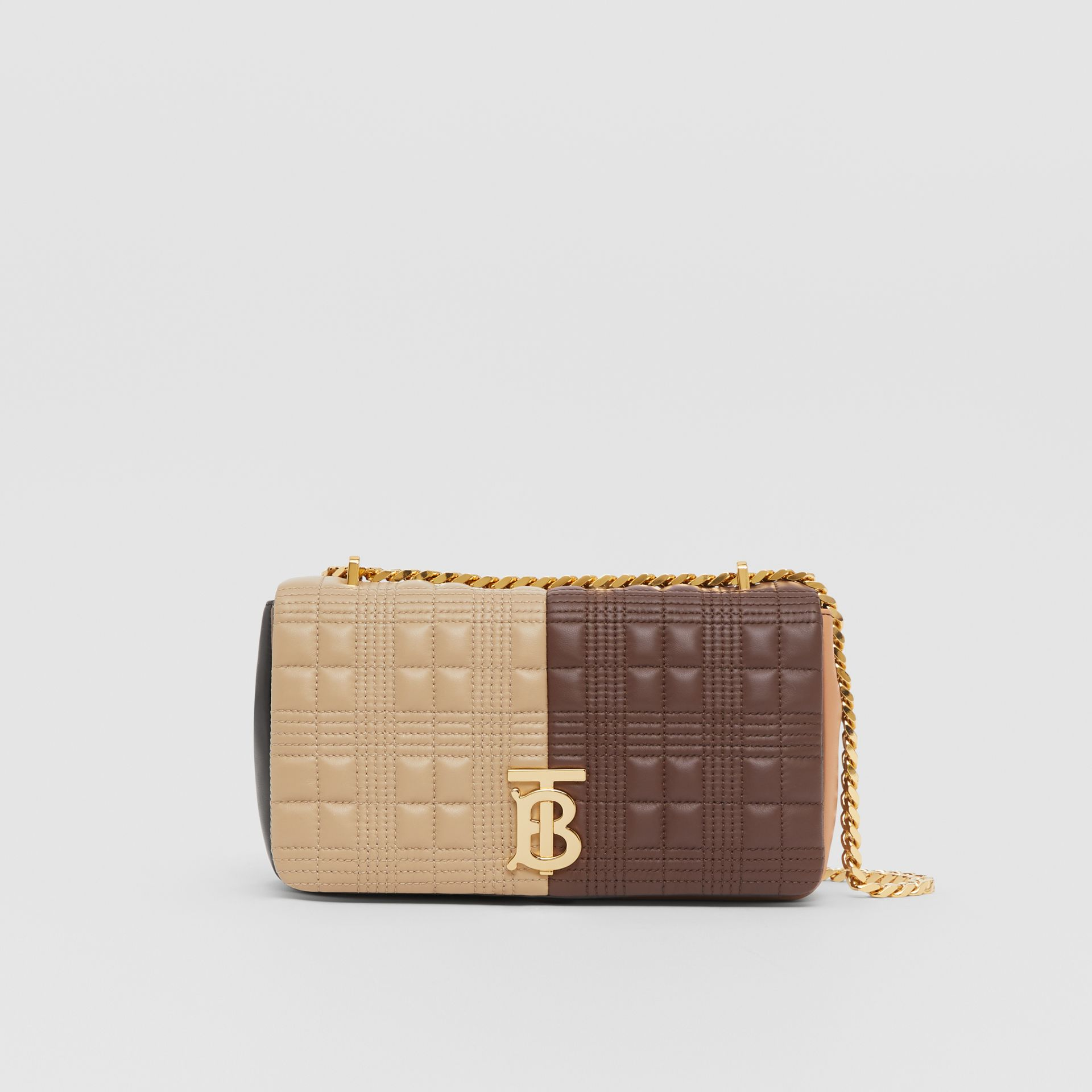 Small Quilted Colour Block Lambskin Lola Bag in Soft Fawn/dark Mocha - Women | Burberry - gallery image 0
