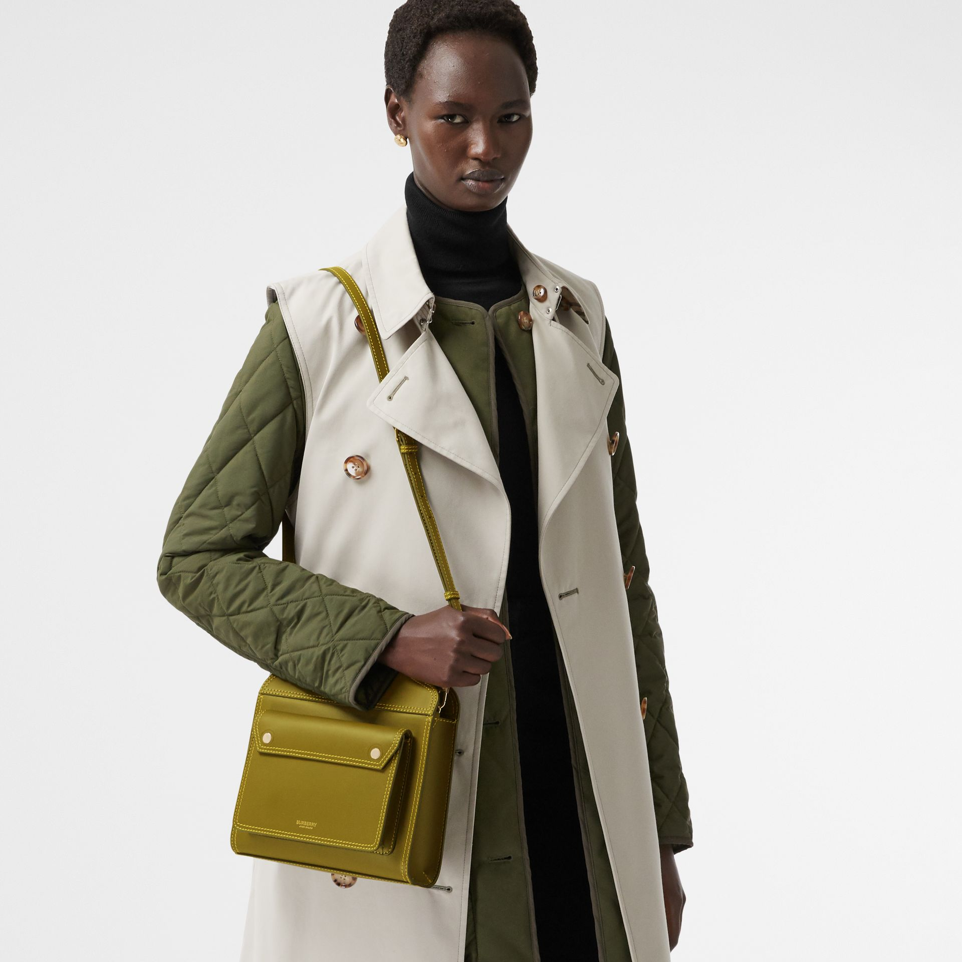 Mini Topstitched Leather Pocket Bag in Juniper Green - Women | Burberry - gallery image 2