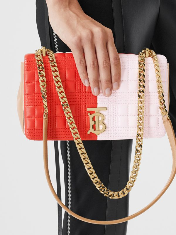 Small Quilted Tri-tone Lambskin Lola Bag in Red/pink/camel - Women | Burberry - cell image 2