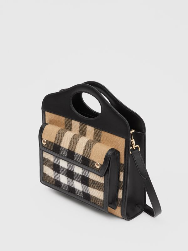 Mini Check Cashmere and Leather Pocket Bag in Archive Beige - Women | Burberry Canada - cell image 3
