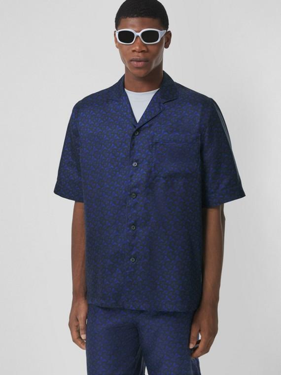 Camisa de seda com estampa de monograma e mangas curtas (Azul Royal Profundo)