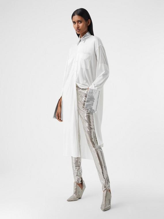 Mirrored Cotton Trim Silk Jersey Oversized Shirt Dress in Optic White
