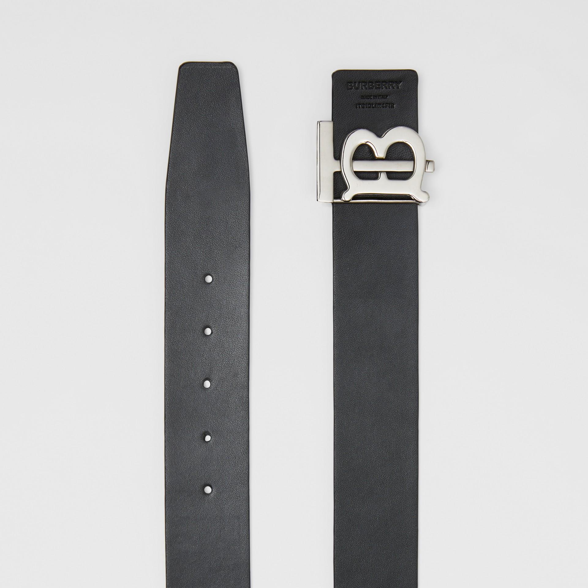 Reversible Monogram Motif Leather Belt in Navy/black - Men | Burberry United Kingdom - gallery image 8