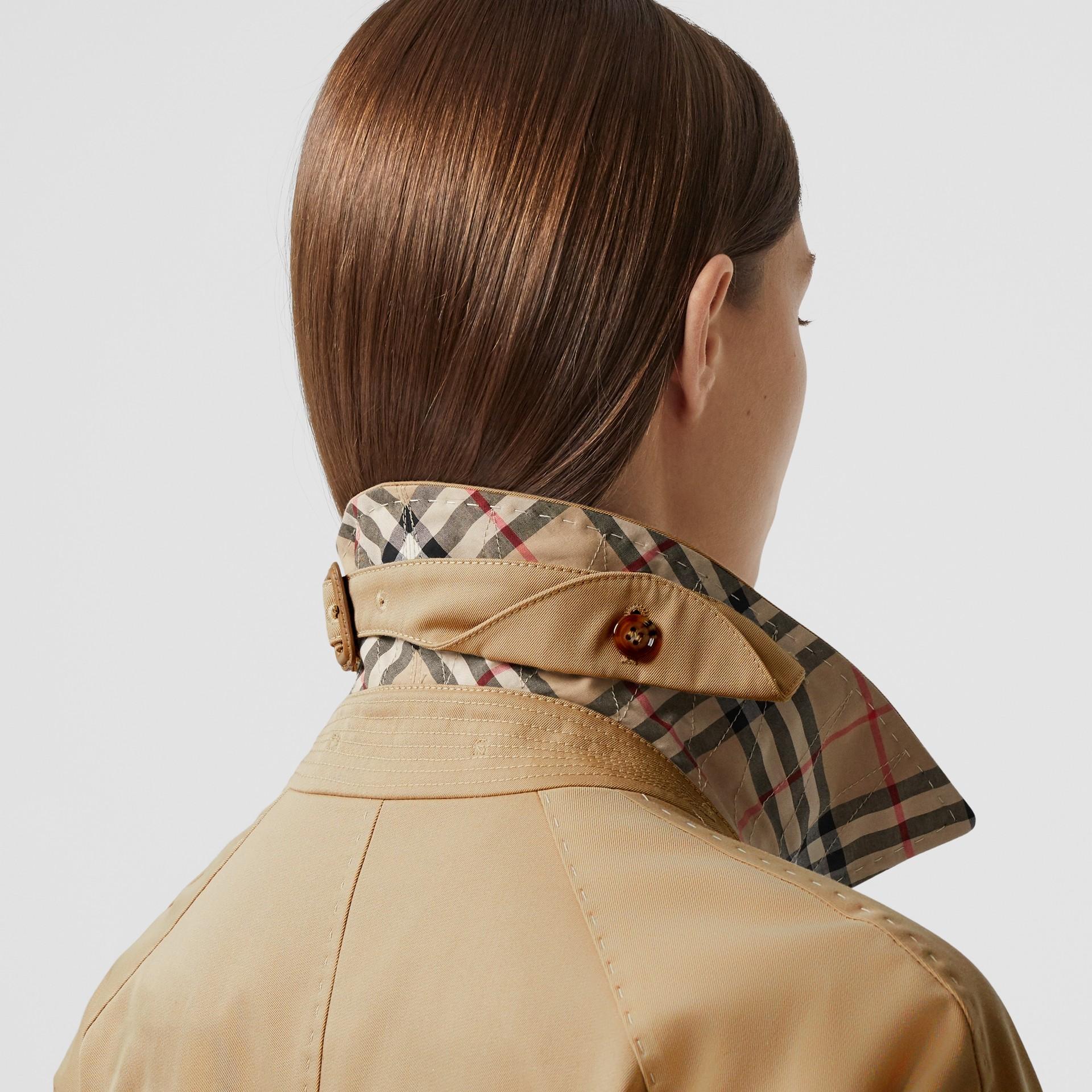 Cotton Gabardine Belted Car Coat in Honey - Women | Burberry - gallery image 4