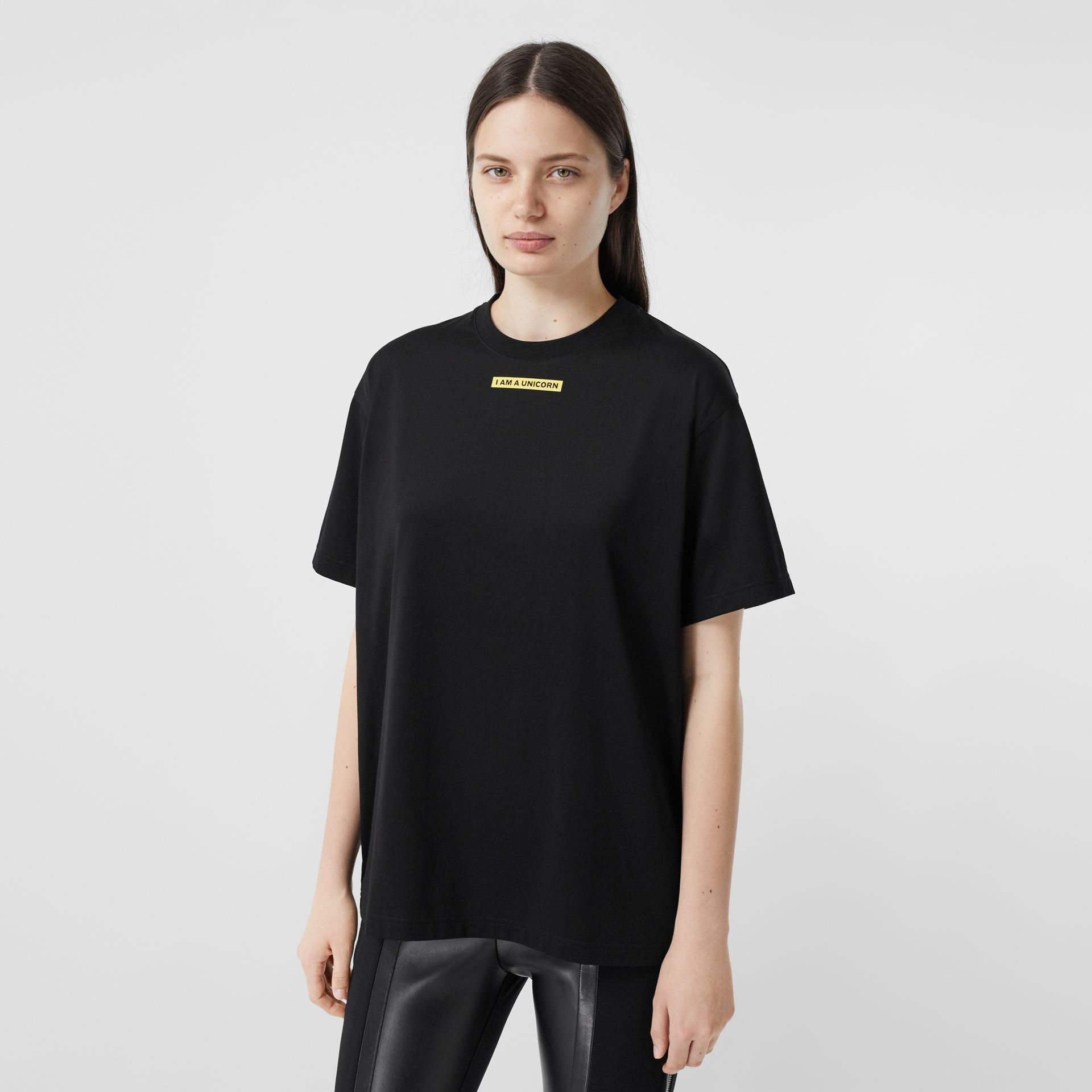 Slogan Print Oversized T-shirt – Online Exclusive in Black - Women | Burberry - gallery image 1