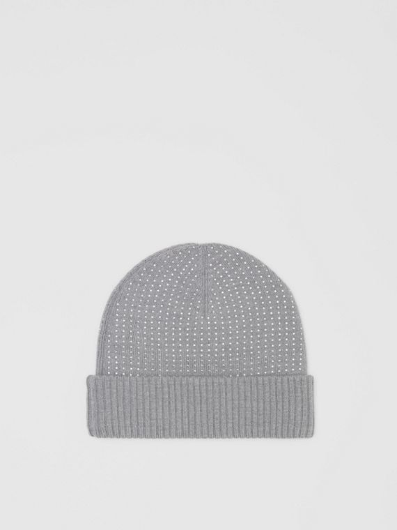 Crystal Pinstriped Merino Wool Beanie in Light Grey