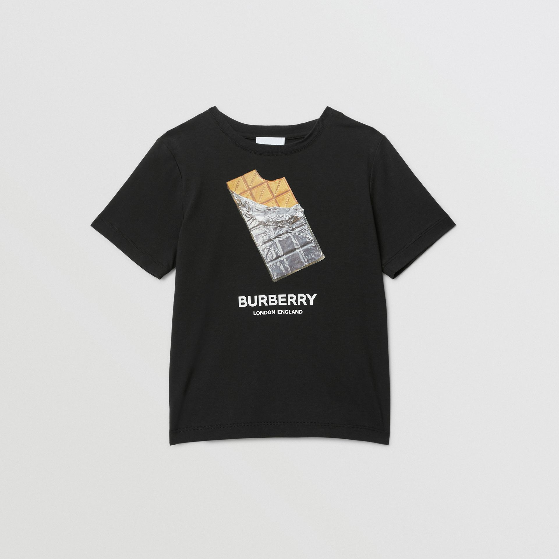 Confectionery Print Cotton T-shirt in Black | Burberry - gallery image 0