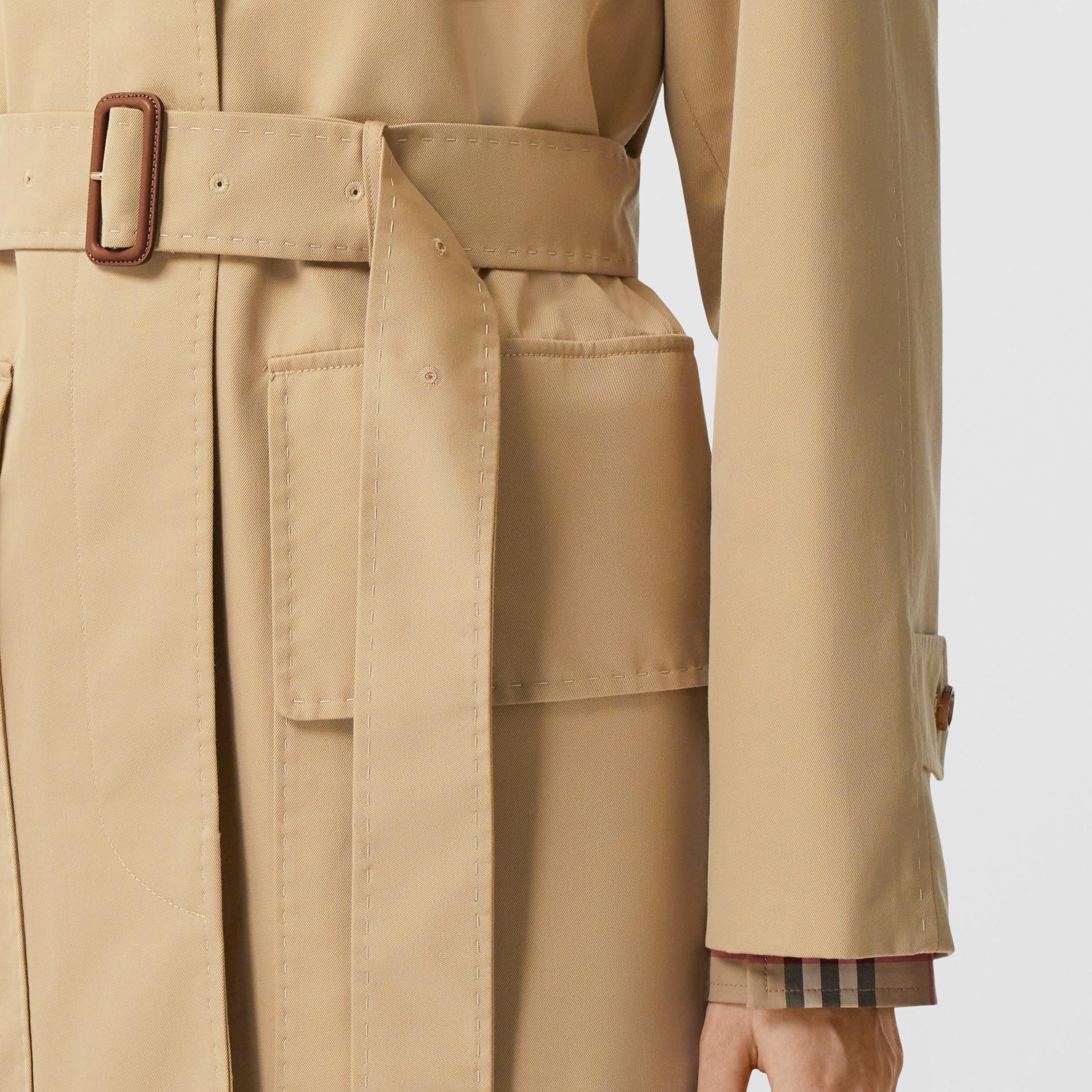 Cotton Gabardine Belted Car Coat in Honey - Women | Burberry - gallery image 5