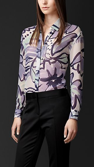 Floral Print Layered Silk Shirt