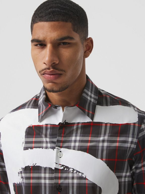 Love Print Vintage Check Cotton Shirt in Black - Men | Burberry - cell image 1