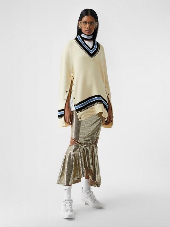 リングピアス ウール オーバーサイズ クリケットセーター (ホワイト)