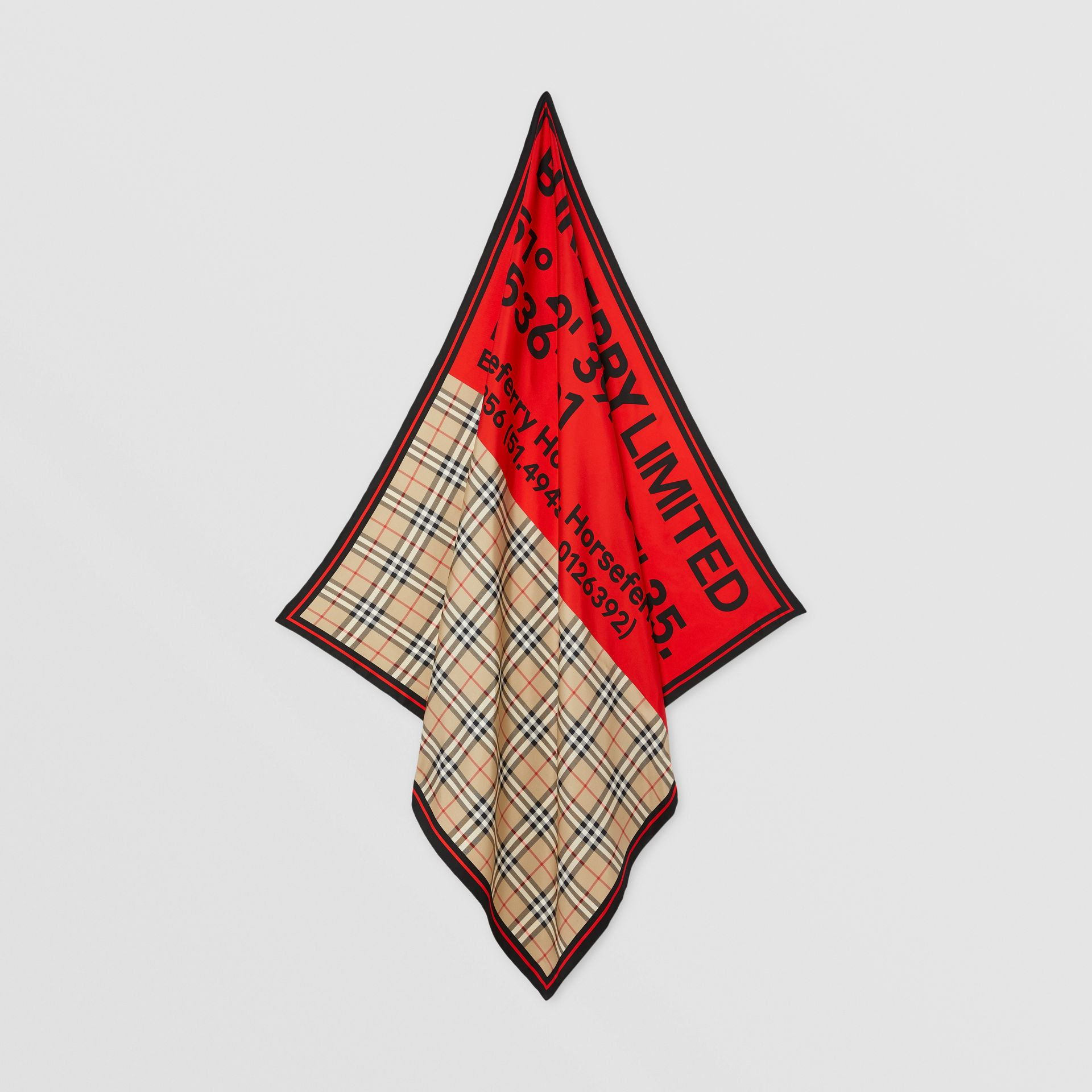 Montage Print Silk Square Scarf in Archive Beige/red/pink | Burberry Canada - gallery image 4