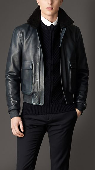 Shearling Collar Leather Blouson