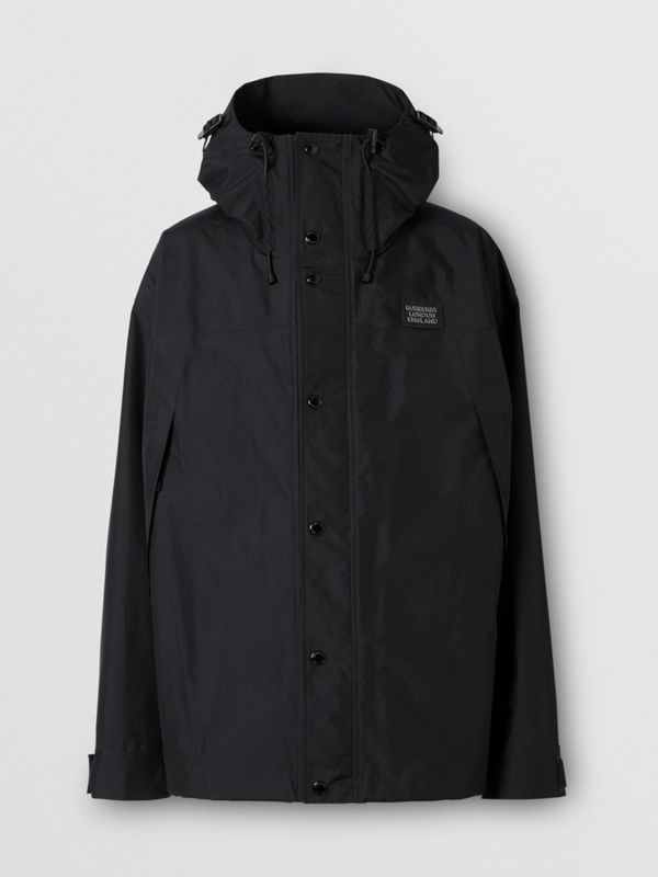 Logo Appliqué Nylon Hooded Jacket in Black - Men | Burberry - cell image 3