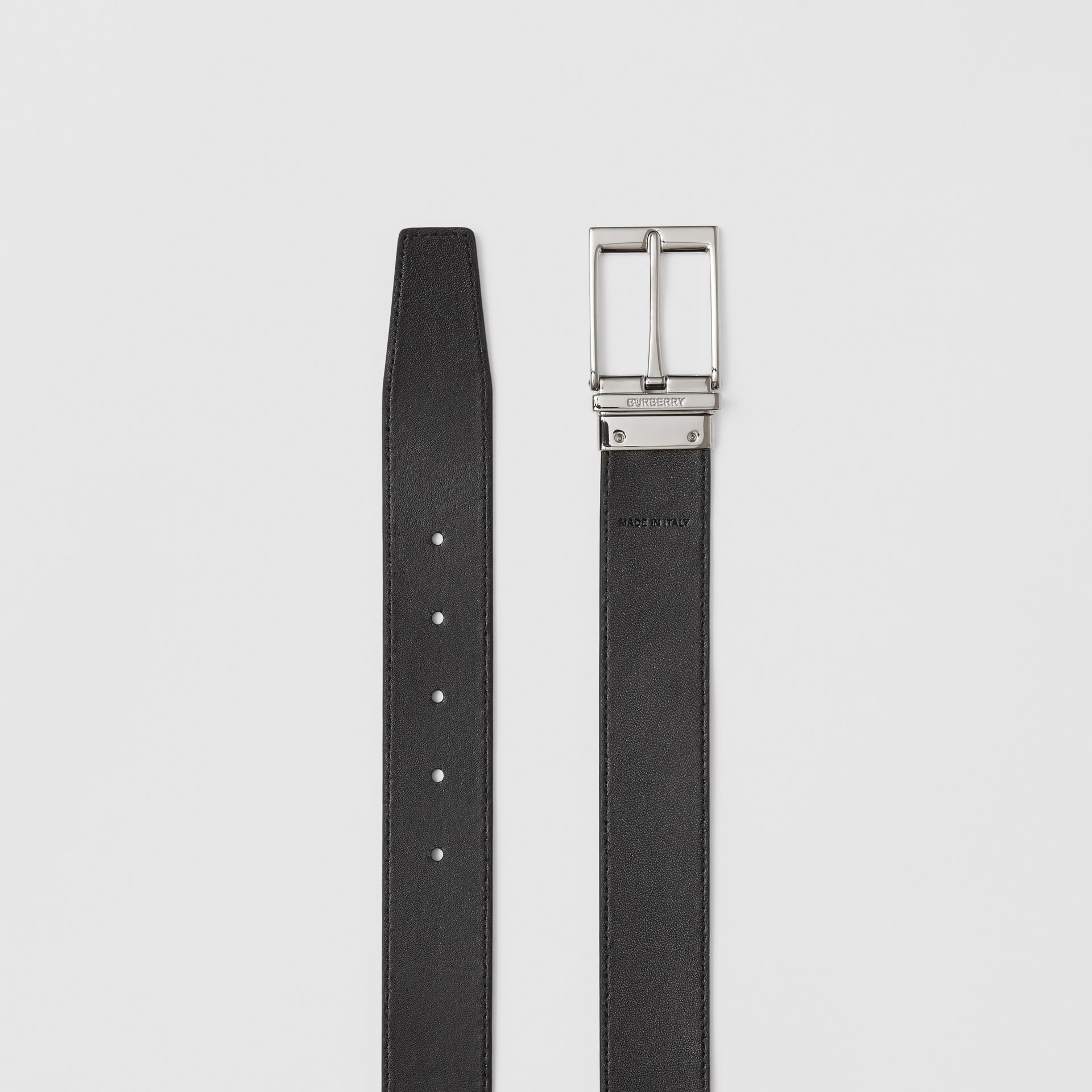 Reversible Check E-canvas and Leather Belt in Dark Birch Brown/black - Men | Burberry - gallery image 8